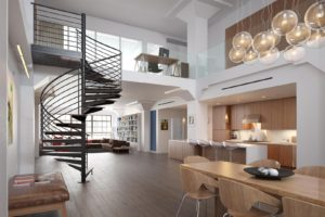 Modern loft-style living room