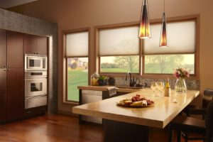 Lutron automated shades in kitchen