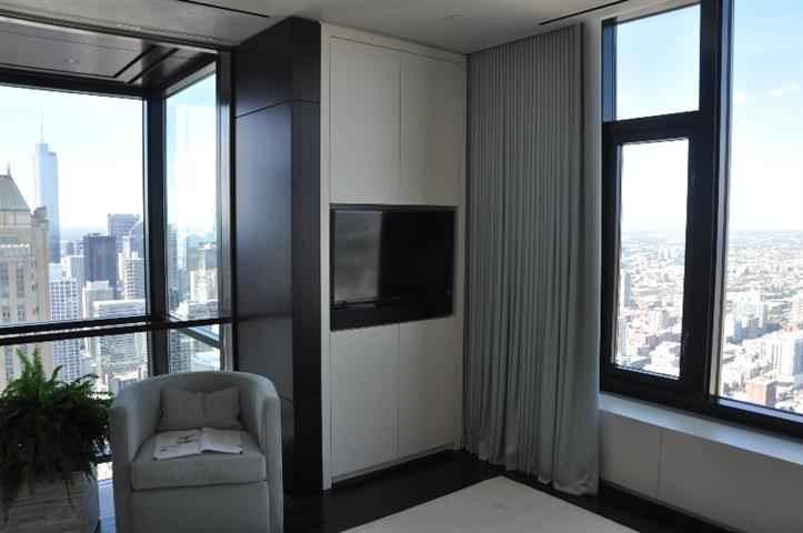 TV Mounted in Wall in Chicago Penthouse