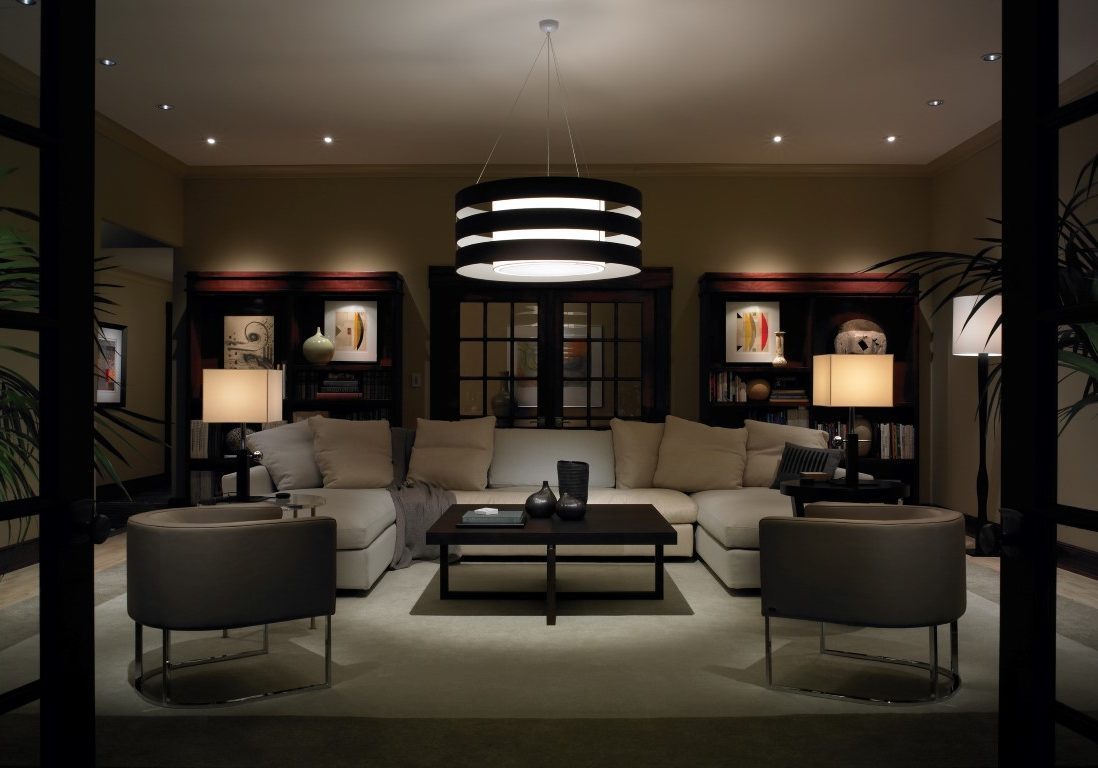 Contemporary Living Room with Lighting Control